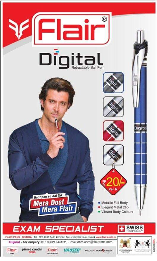 "Hrithik Inspires on Twitter: ""New Print Ad: @iHrithik for Flair Pens # Hrithik #bollywood… """