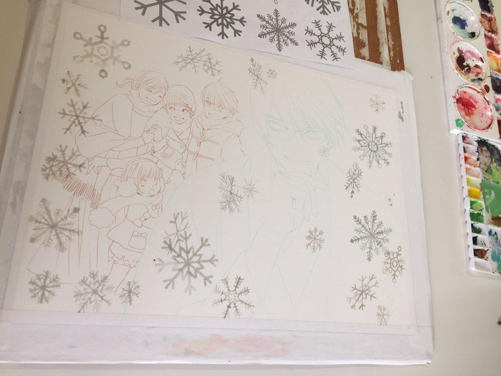 @yuyu2000_0908 【6】たくさん描いた雪の結晶をマスケットインクでマスクして行きます。わ…