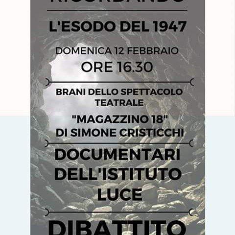 """Proiezione documentarii sulle foibe e brani  da """"Magazzino 18"""""""