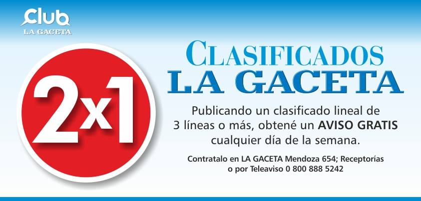 Con #ClubLG tenes 2x1 en clasificados lineales de 3 líneas en #LaGaceta. Más info:  http:// goo.gl/S5eqNF  &nbsp;  <br>http://pic.twitter.com/VoBHMzXY07