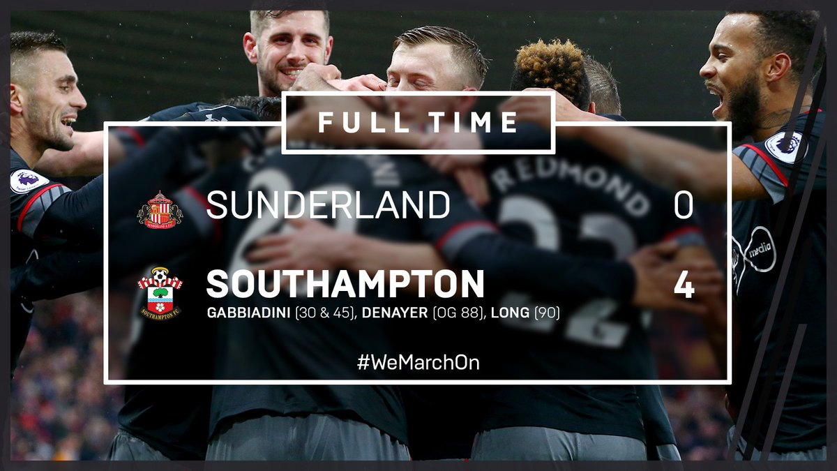 FULL TIME: #SAFC 0-4 #SaintsFC  A fantastic afternoon for Claude Puel'...
