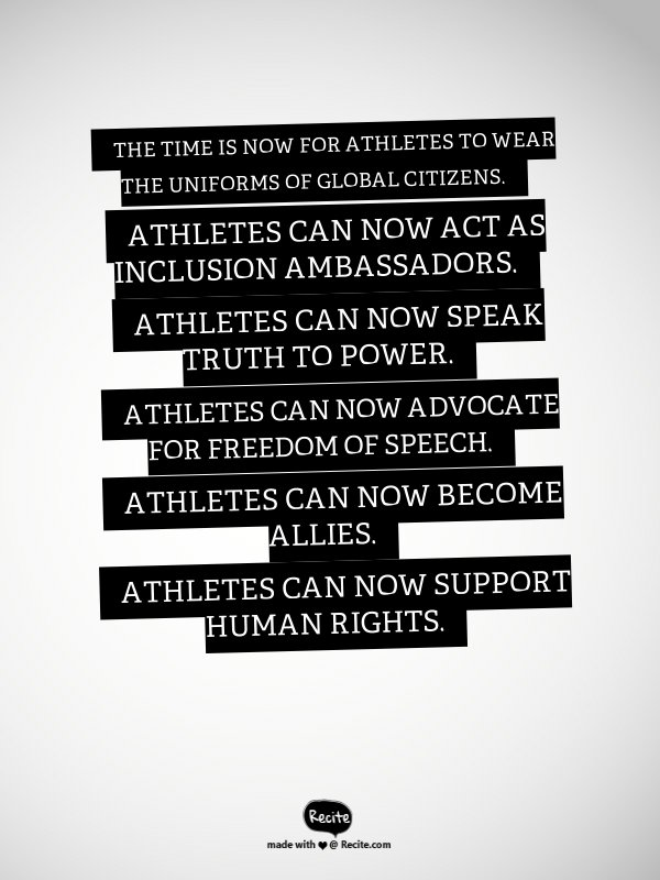 The time is now for athletes to wear the uniforms of global citizens https://t.co/FOVivpdwKB #Rights #Peace #Inclusion