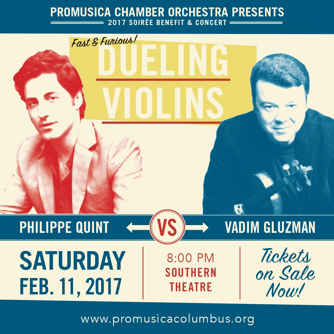 Tonight&#39;s the main event! #VadimGluzman vs. @PhilippeQuint! 8pm @ the Southern! Let the best #stradivarius win! #soiree2017<br>http://pic.twitter.com/geepihdNMf