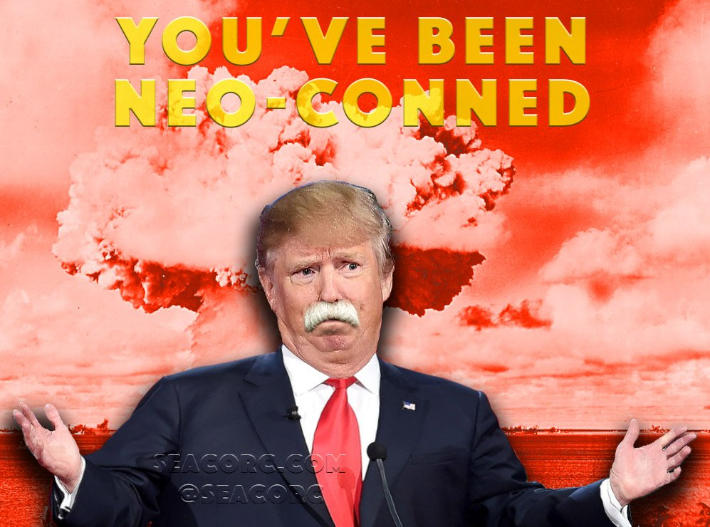 Remember deplorables calling Hillary a #neocon? Trump is considering &#39;King of All Neocons,&#39; John Bolton, for NSA #TrumpRally #TheResistance<br>http://pic.twitter.com/Uw26akDUm4