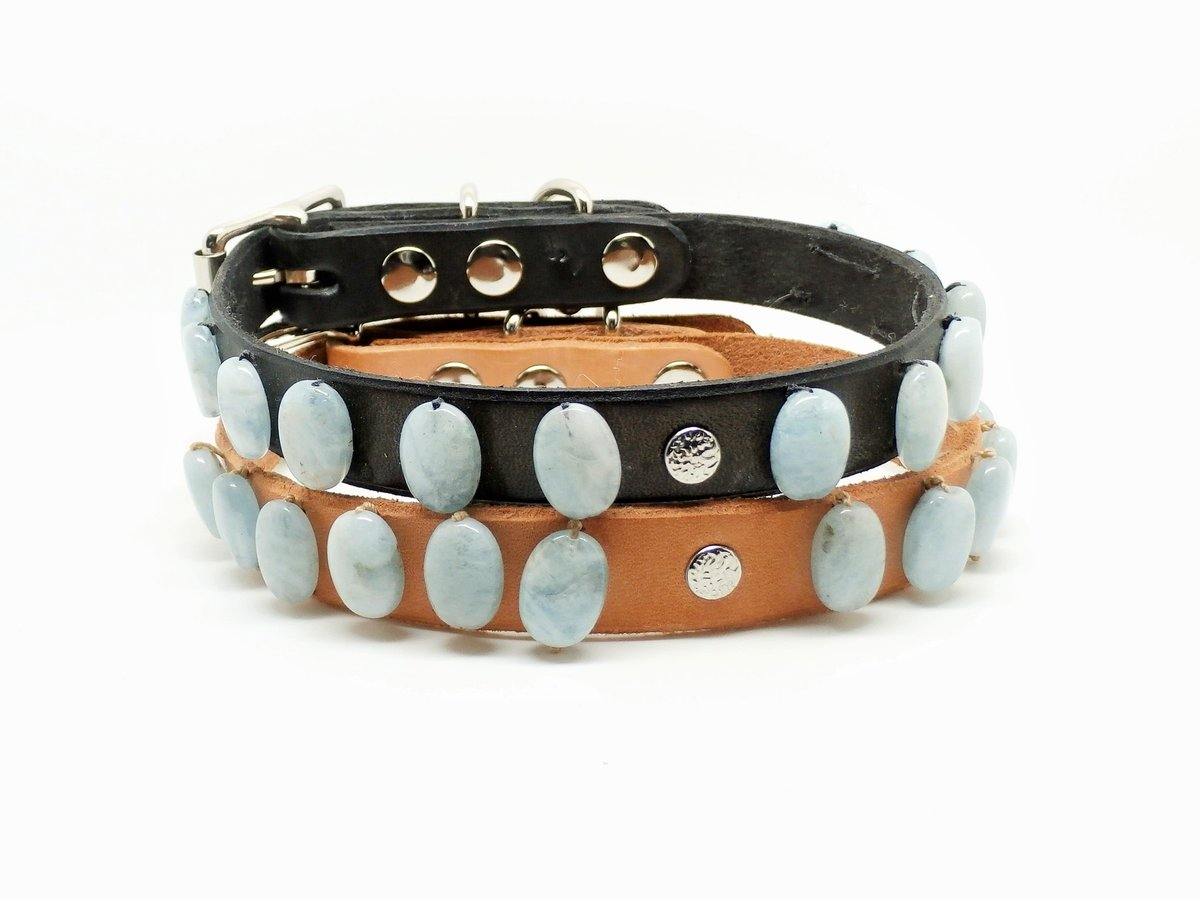 #Handmade #Aquamarine and Leather #DogCollars Made in USA  http:// ow.ly/uuyQ30332cS  &nbsp;   #DogLovers #PetLuxury #Gemstones<br>http://pic.twitter.com/uBpgR36MXL