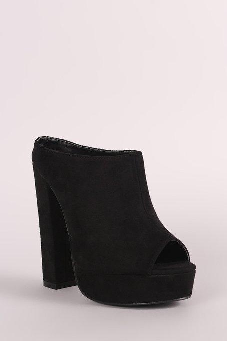 Suede Peep Toe Mule Chunky Platform Heel