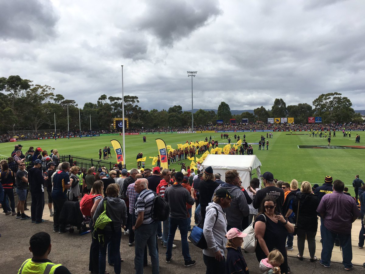 Another bumper crowd at Thebarton Oval five minutes before play begins...