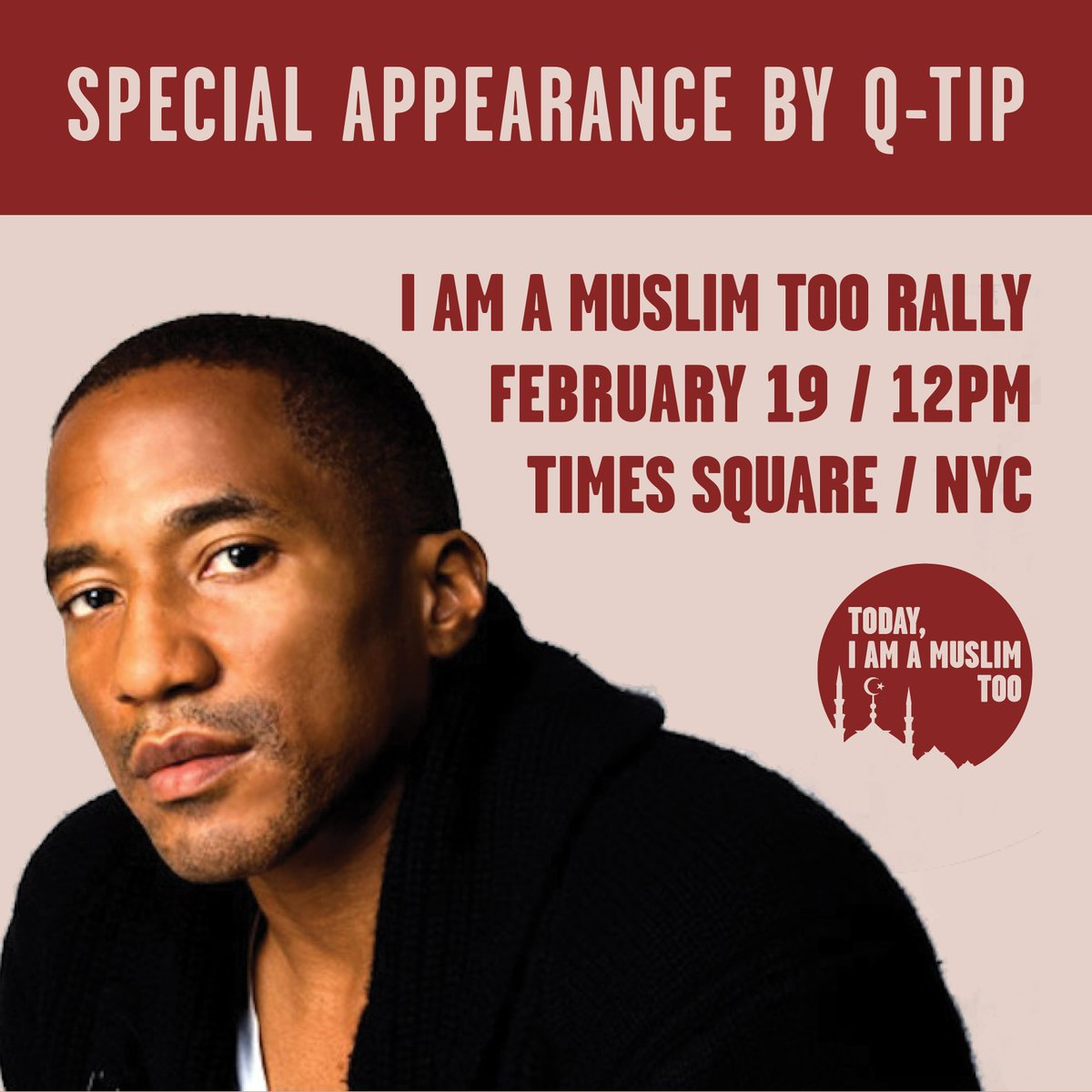 .@QtipTheAbstract is going to be joining us tomorrow at the #IAmAMuslimToo rally, a day of solidarity in Times Square, NYC. #WeThePeople <br>http://pic.twitter.com/ECewrCAH6I