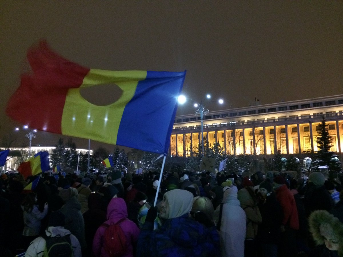 Thousands of anti-government demonstrators out again in Bucharest tonight. Huge protest planned for tomorrow. Romania
