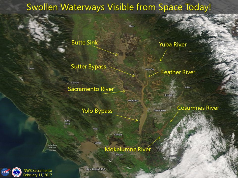 Zoom in and take a look! Our swollen waterways are visible from space today. Pretty incredible! #cawx #castorm #caflood https://t.co/zU9eVWrpgl