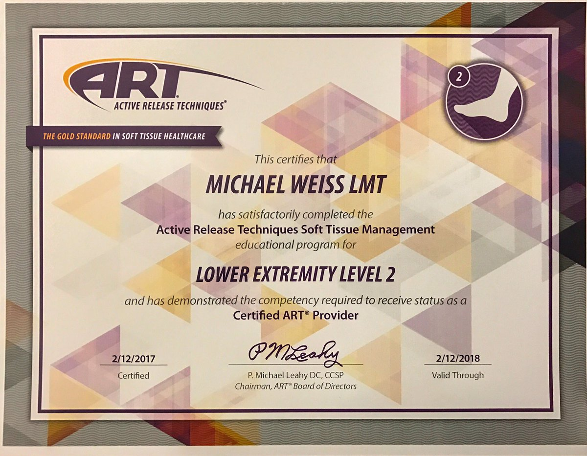 Michael weiss on twitter my brain muscle is steaming but im but im proud honered to be one of a few activerelease therapists who can call themselves level2 certified httpsth7cdjxwzck xflitez Images