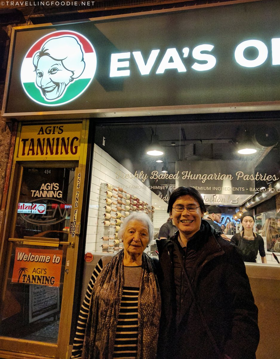 Travelling Foodie Raymond Cua with Eva of Eva's Original Chimneys Toronto