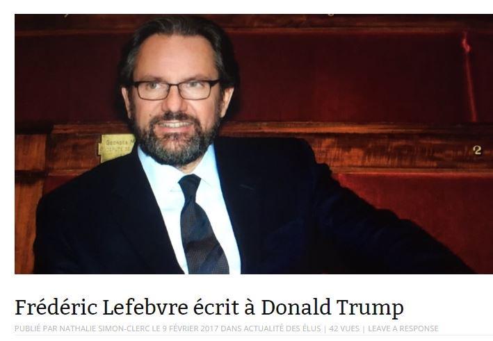 Le député @FLefebvre_RF écrit à @POTUS au sujet des citoyens français ayant une double nationalité #visa #USA   http:// loutardeliberee.com/frederic-lefeb vre-ecrit-a-donald-trump/ &nbsp; …  <br>http://pic.twitter.com/YSVNso1Grr