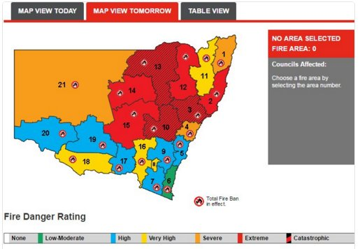 "#Australia #heatwave. Heat and winds mean risk of ""extreme to catastrophic"" #fire danger conditions in New South Wales Sunday, @BOM_au https://t.co/kKEgw6OqyD"