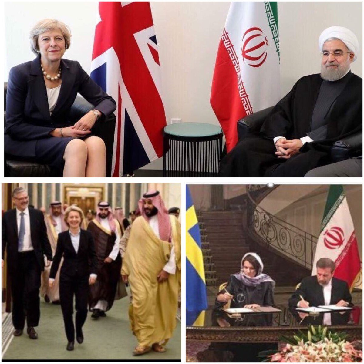 Modiga brittiska och tyska kvinnliga politiker i möte med religiösa ledare. Så har vi den svensk fogligheten. Vad säger kvinnorna i Iran tro