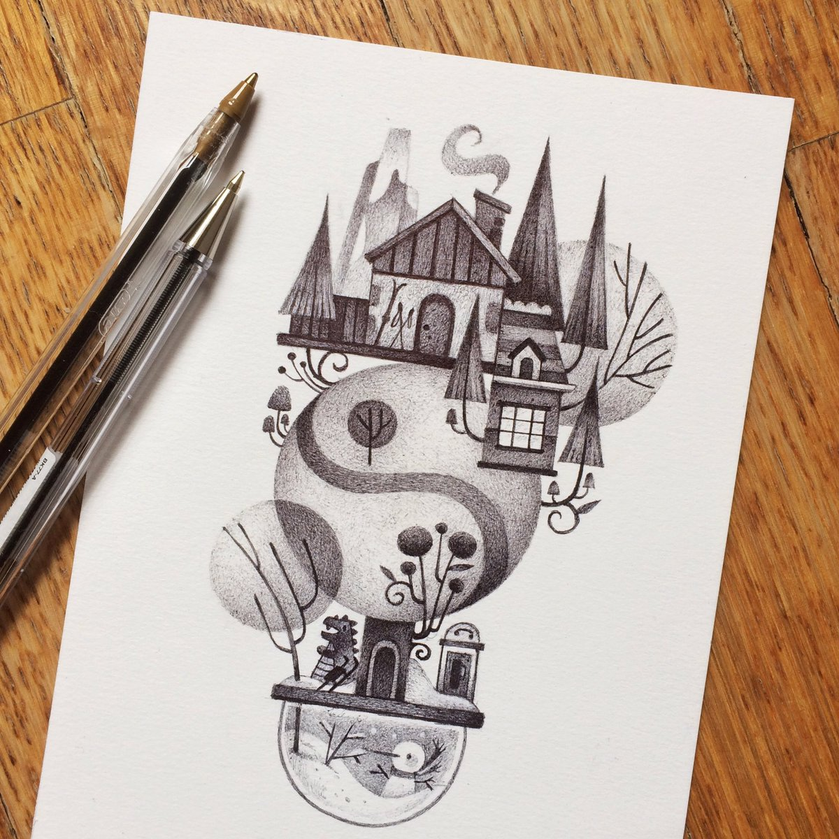 Nusquam - Tales from Imaginary Places #illustration #biro #ink #kidlit #kidlitart https://t.co/5Yy4DDRdcK