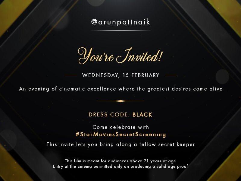About time! The dress code though. #StarMoviesSecretScreening #50ShadesDarker #Mumbai https://t.co/BvczUQ1eci