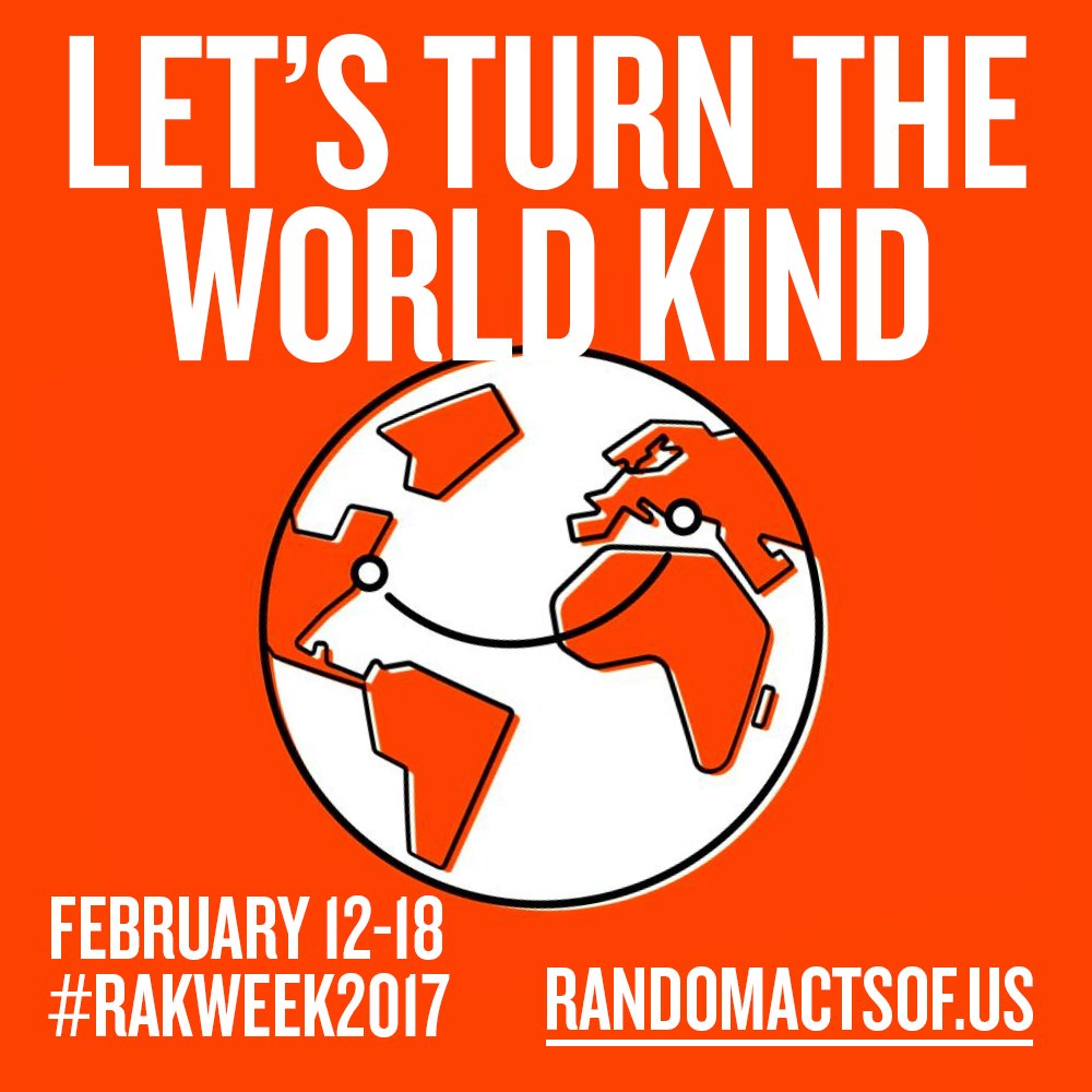 Let's turn the world kind! Random Acts of Kindness Week Feb 12-18 #RAKWeek2017 #DiscoverKindness randomactsof.us https://t.co/Hix2zpOomt