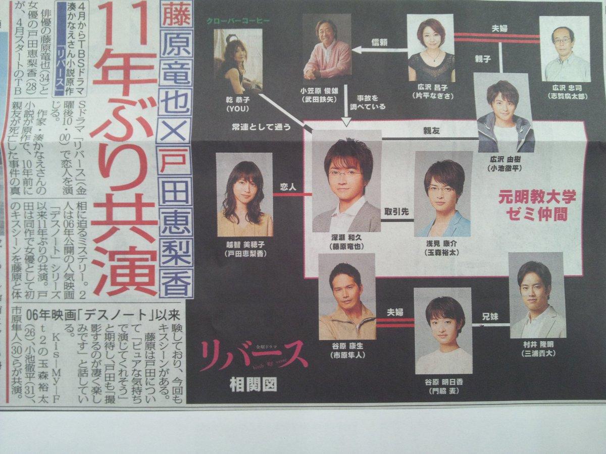 本日のスポニチとサンスポから、TBSで4月スタートの、湊かなえさん原作、藤原竜也さん主演ドラマ「リバ…