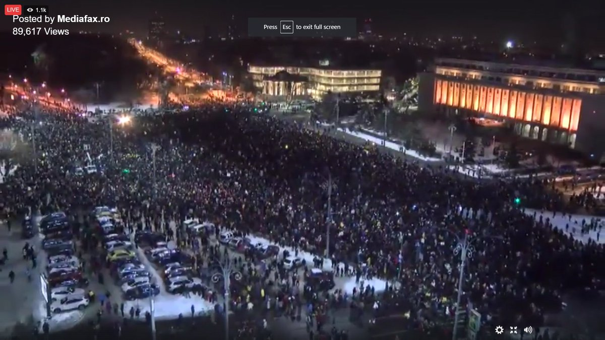 Romania,13th consecutive day of protests.25,000 Romanians are protesting in Bucharest,other thousands across the country #romanianprotests
