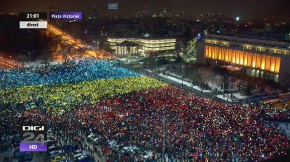 Big rally tonight in Bucharest