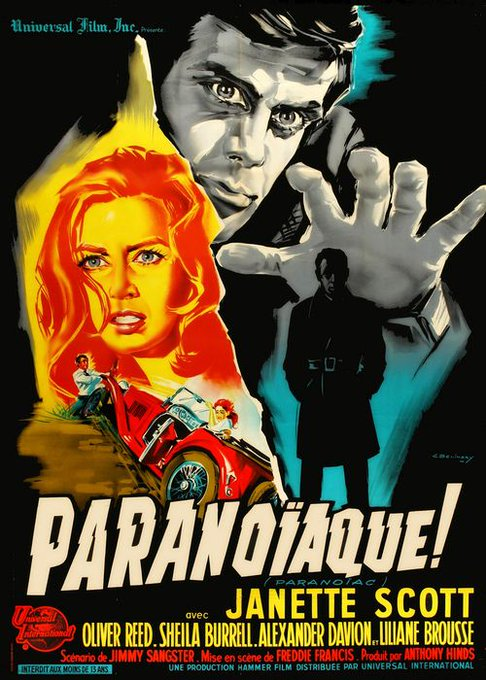 Happy birthday to Oliver Reed -PARANOIAC - 1963 - French release poster