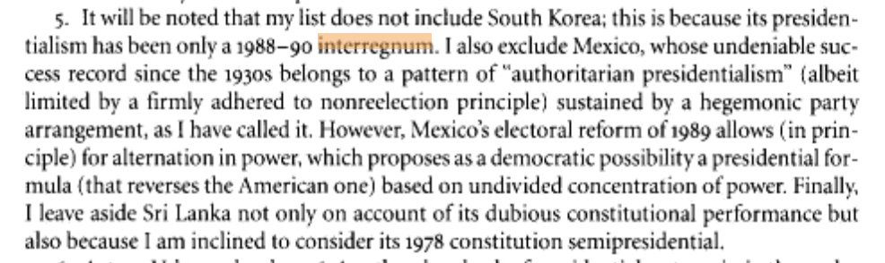 "Footnote: Mexico has a president, and a working democracy. But Juan Linz, author of ""The Perils of Presidentialism,"" wrote: 17/ https://t.co/7VLSUyLzXr"