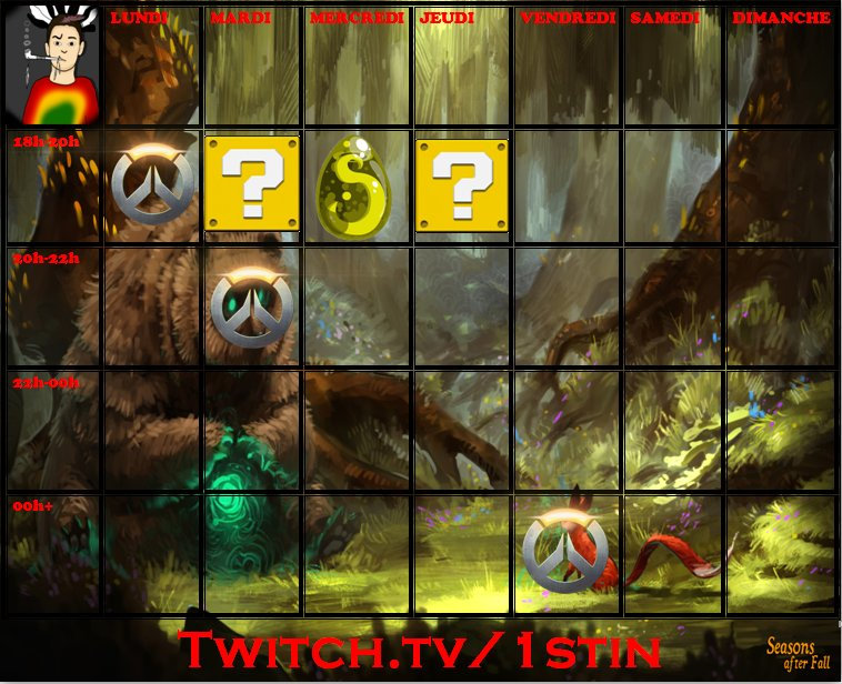 Chose promise, chose due:  Voici le premier planning de la chaîne !  http:// twitch.tv/1stin  &nbsp;   #live #twitch #planning #gaming #1stin<br>http://pic.twitter.com/3CCEnsN71d