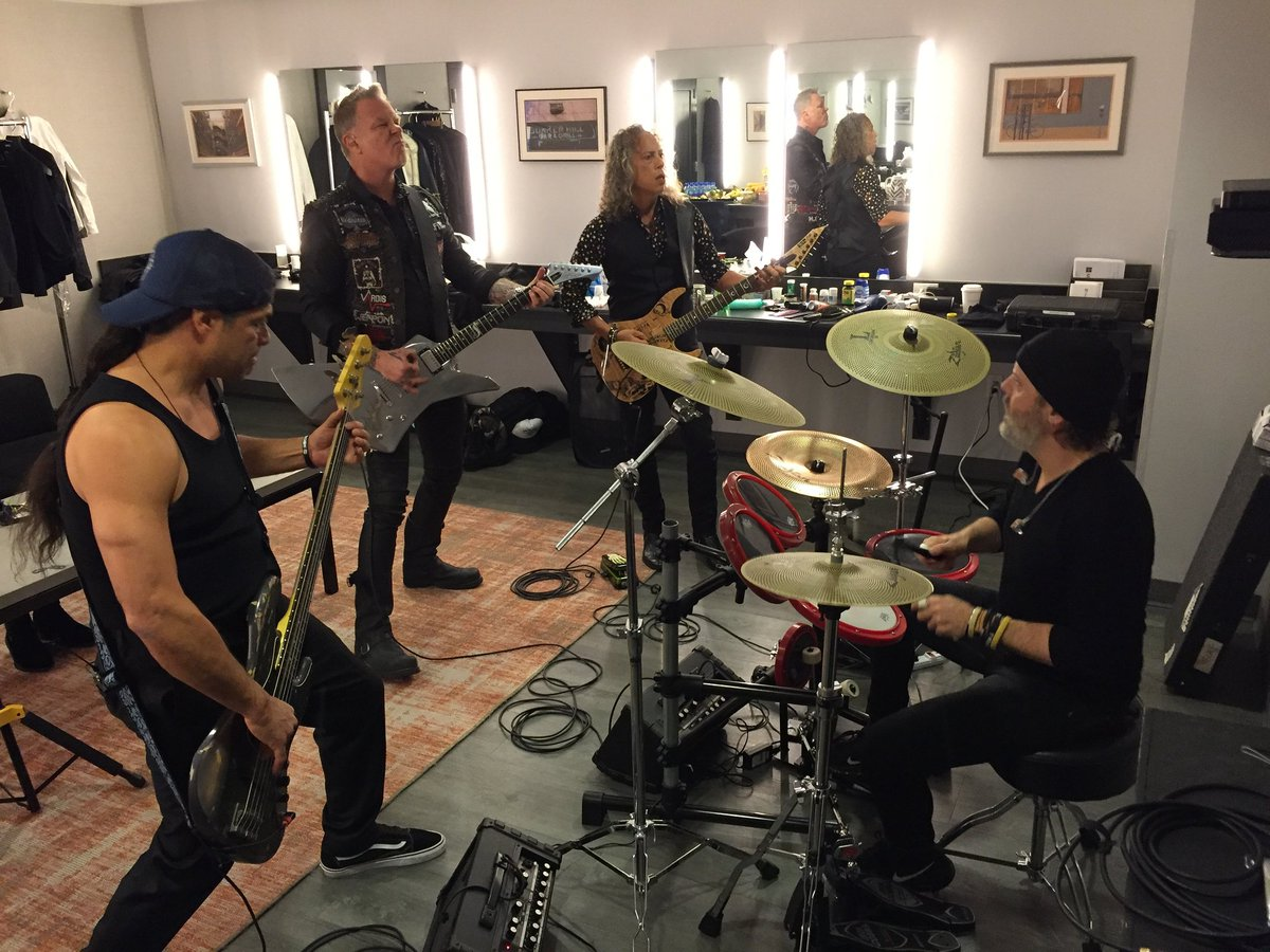 Almost time! Tuning Room Grammy style. #GRAMMYs #Metallica #LadyGaga