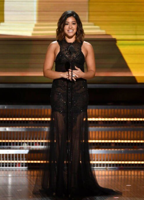 Beautiful @HereIsGina presenting at the Grammys in #MLSpring17
