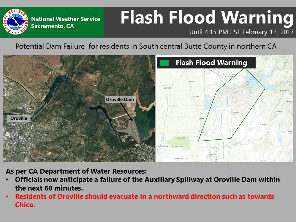 Hazardous situation is developing with the #OrovilleDam Dam auxiliary spillway. Flash Flood Warning issued. #CAwx