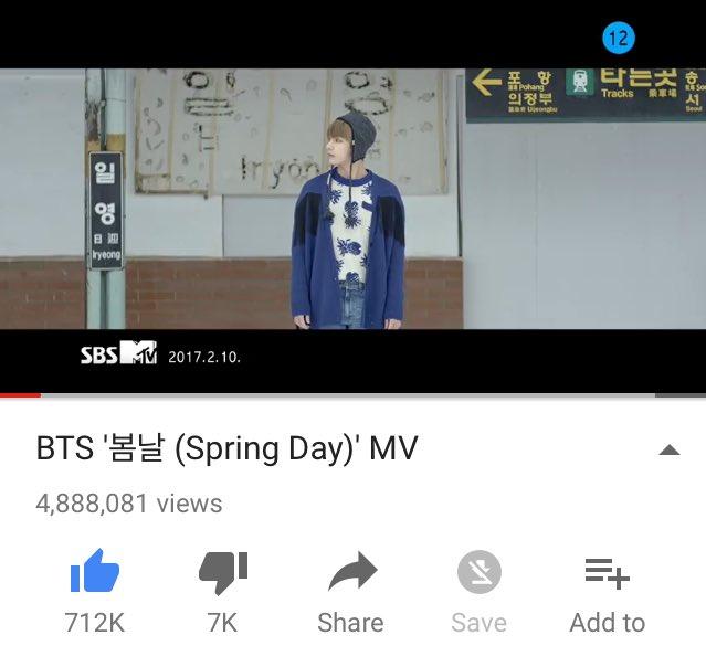 Spring Day MV already hits 4M ARMYs! keep streaming~^^ (  #방탄소년단 #봄날 #YOU_NEVER_WALK_ALONE