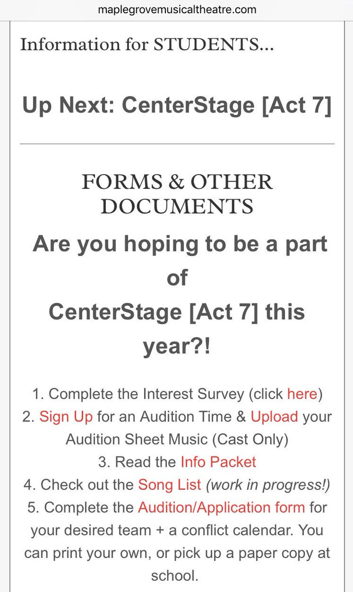 Mgsh Musical Theatre On Twitter Centerstage Audition