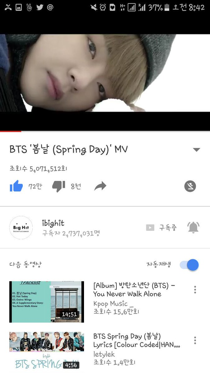 5, 071, 512 Mllion within 8 hours of release! 😱😱👏👏👏😭😭💜💜💜💜💜💜💜  @BTS_twt #You_never_walk_alone #SpringDay