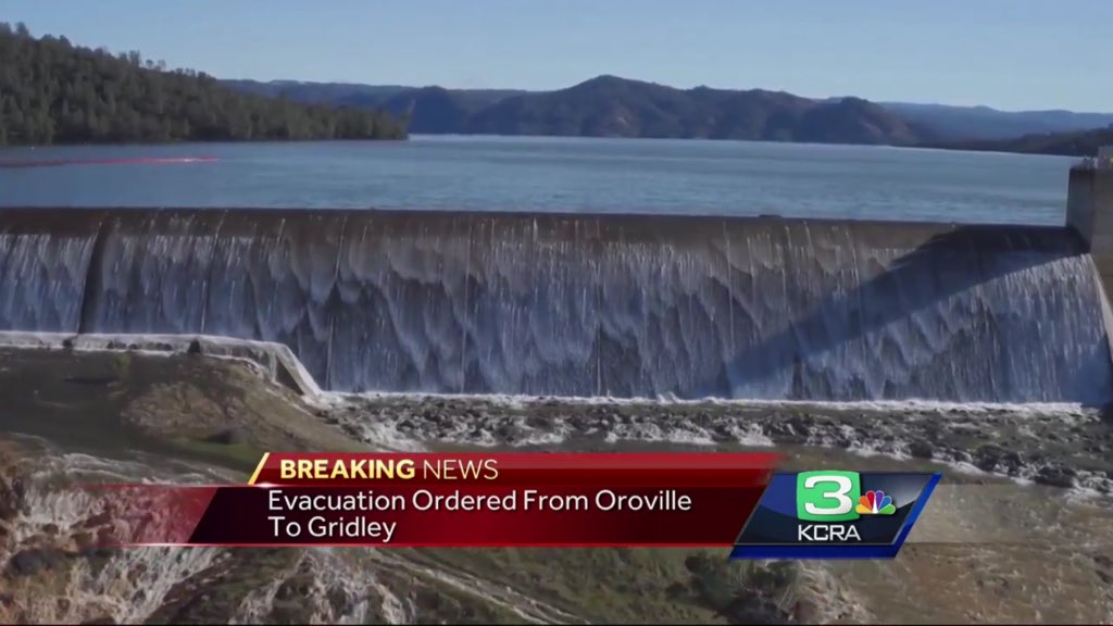Thousands evacuate California town as Oroville Dam spillway set to fail
