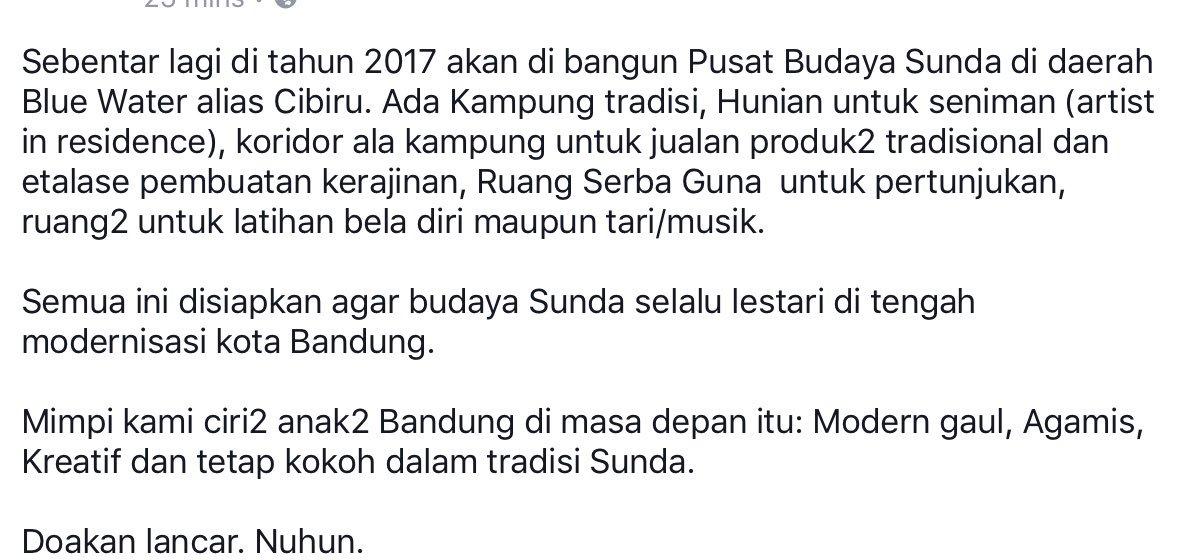 Pembangunan Pusat Pelestarian Budaya Sunda di Cibiru akan segera dimulai di tahun 2017 ini.