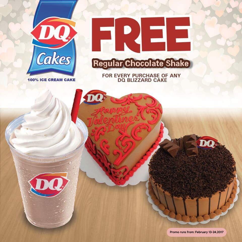 Get our Blizzard Cake & get a Regular Chocolate Shake ON US! Promo is valid from Feb 13-24, 2017 in all #DairyQueenPH cake stores https://t.co/JqnFJyyH2u