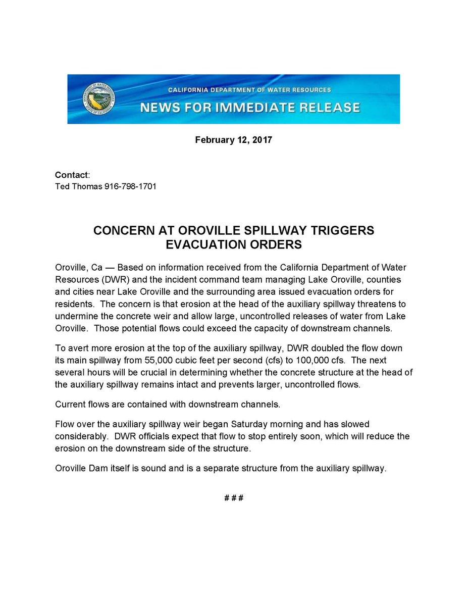 .@CA_DWR update on #OrovilleSpillway https://t.co/xzGp6xxyR6
