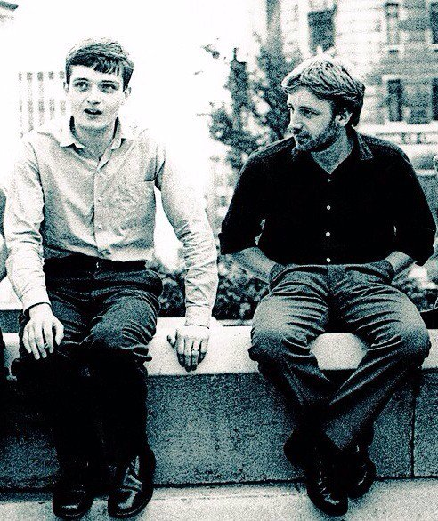 Happy Birthday to the best bassplayer in the world Peter Hook born on this day 1956 Pictured with Ian Curtis