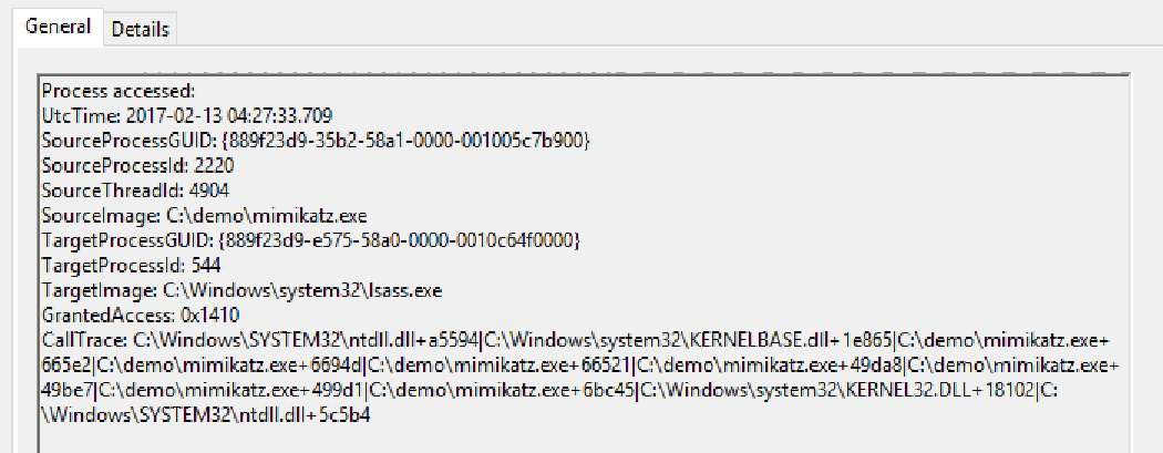 You can detect Mimikatz stealing passwords by configuring Sysmon to watch Lsass.exe for process access: https://t.co/KSv9G9T21y