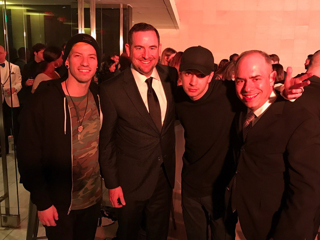 Incredible night with our newest #GRAMMYs winners!  Congratulations @twentyonepilots for getting your pants back on. https://t.co/uftGz0RJfS
