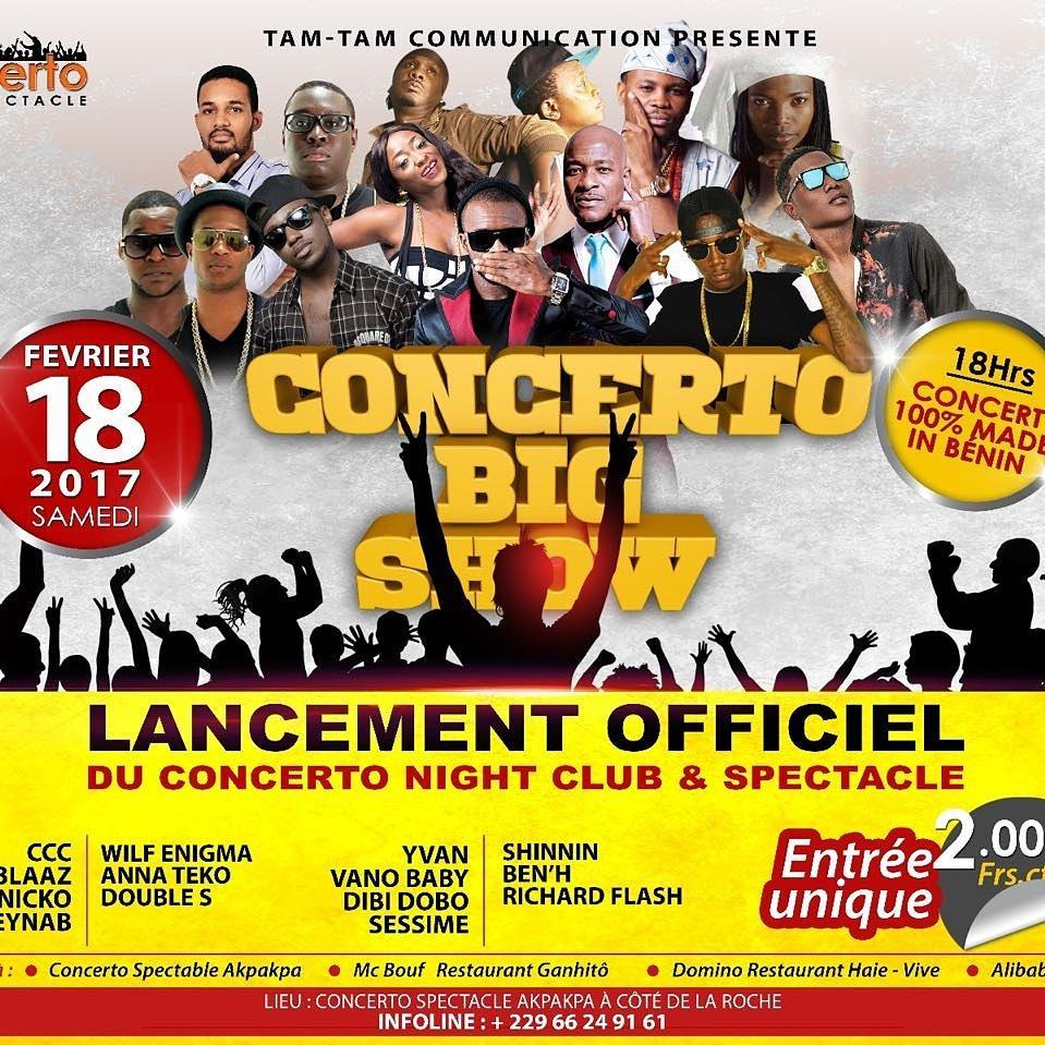 Le premier concert de l&#39;année qui réunira la crème de la crème de la musique béninoise  ça sera pour le 18 février prochain au #concerto. <br>http://pic.twitter.com/Vfp2VUYiTf