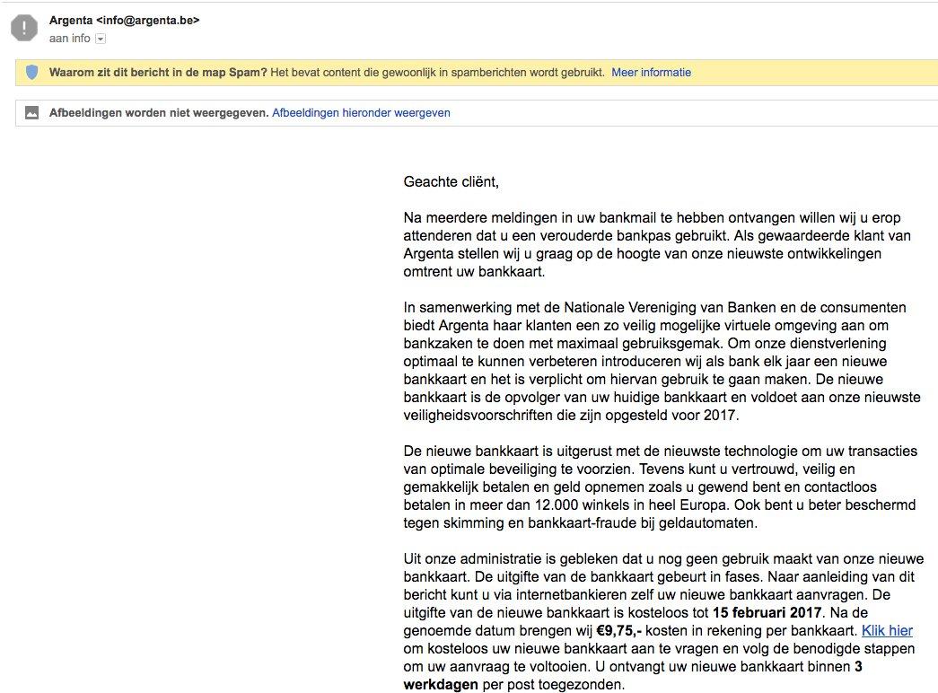Hey @argenta Iemand verstuurt scam mails met jullie naam. https://t.co/0pRnaaOazt