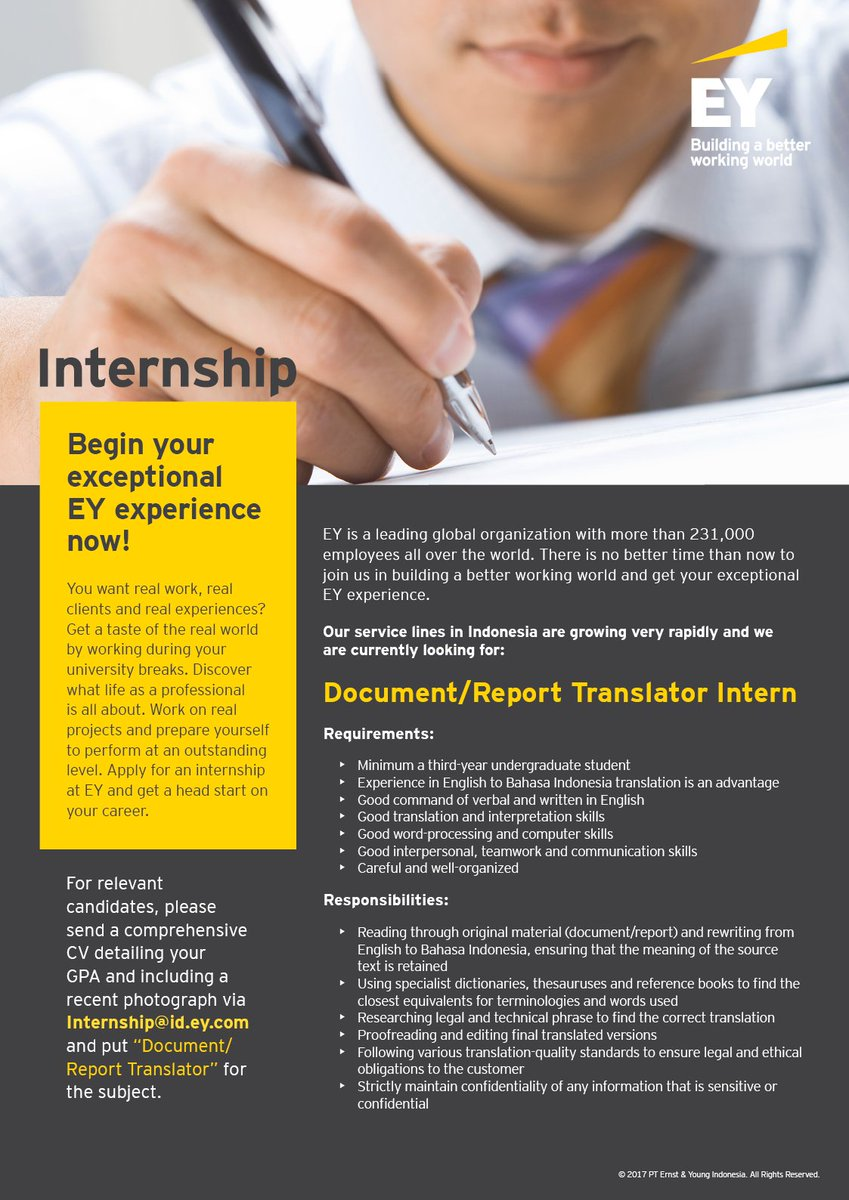 ey indonesia on twitter looking for an internship eyindonesia is looking for a documentreport translator intern apply now httpstconxhge5hrin