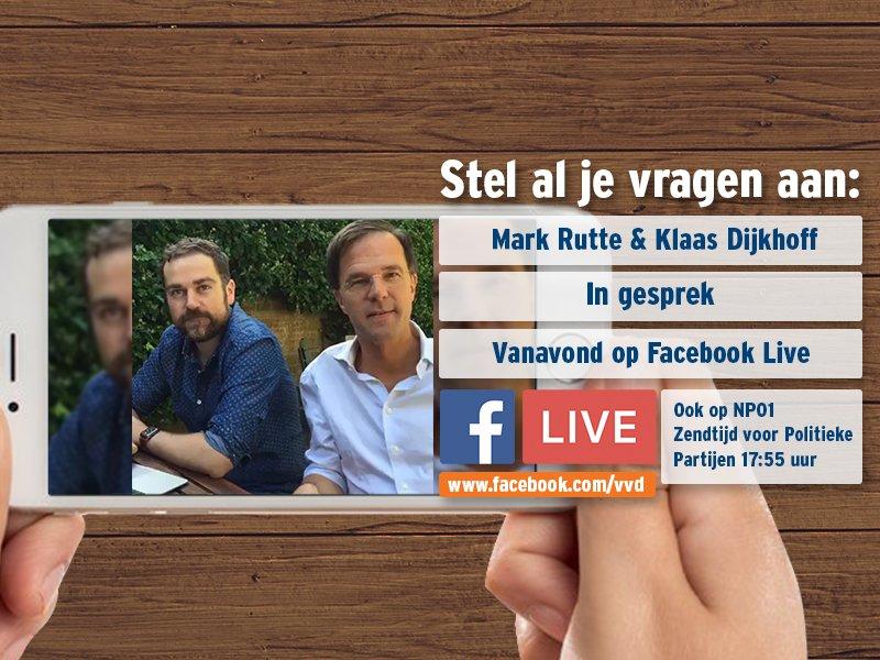 Vanavond gaan @markrutte & @dijkhoff weer in gesprek via Facebook Live. Kijk & praat mee vanavond via http://www.facebook.com/vvd!