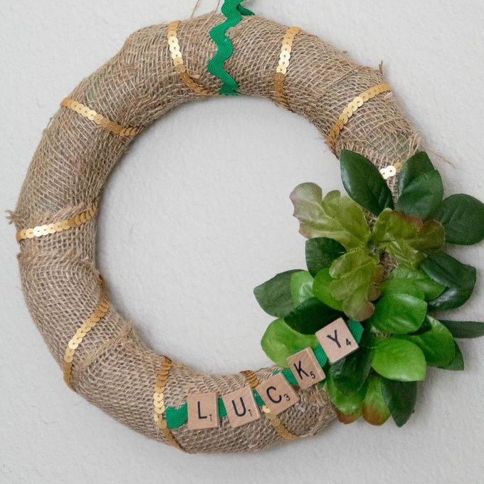 Lucky St Patricks Day Wreath Craft