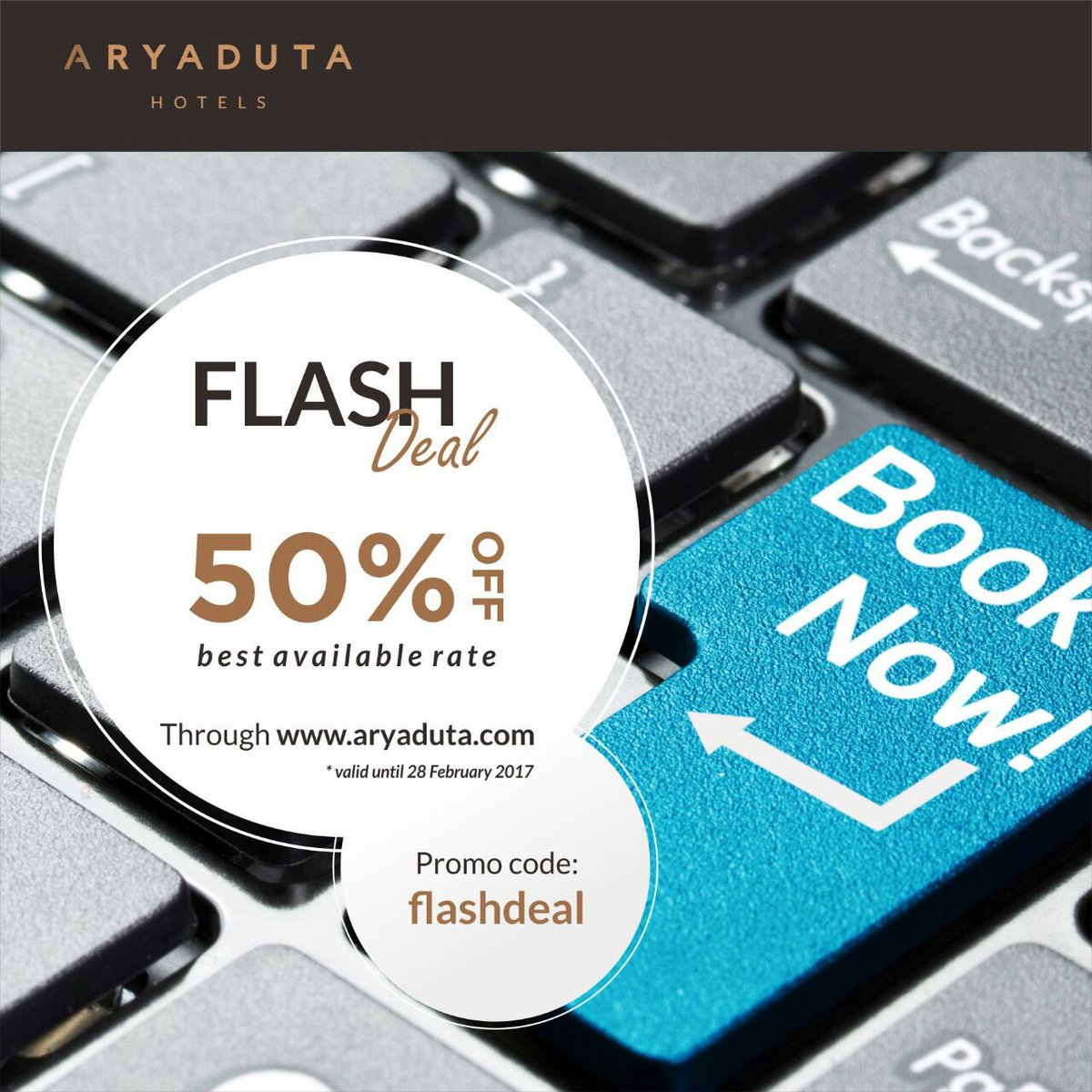 Aryaduta Hotels Flash Deal! Get 50% off your room rate by booking through the Aryaduta website from 6pm onwards for same day stay. https://t.co/Zbx6TZQiuD