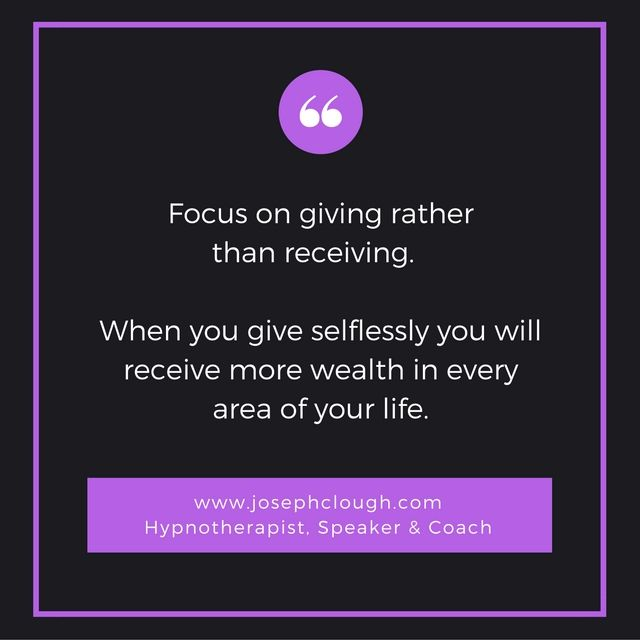 Focus on giving rather than receiving.  JC https://t.co/xx3ZSCLZkG