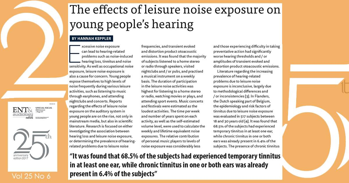 The effects of leisure noise exposure on young people's #hearing  http:// bit.ly/2lBsUtw  &nbsp;   #ENTAuds<br>http://pic.twitter.com/DPKXRQSC1e