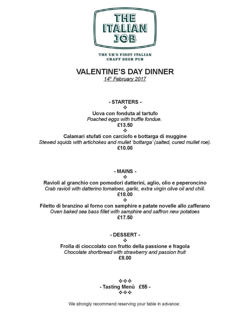 The Italian Job On Twitter Valentine S Day Dinner Menu